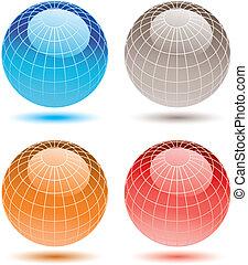 globes., coloré, assorti