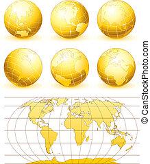 globes, doré