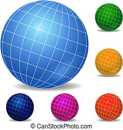 globes, ensemble, icône