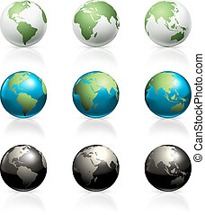 globes, ensemble, vecteur