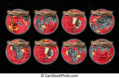 globes - Globes with continents from burning coals and...