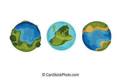globes., illustration, bakgrund., sätta, vektor, vit