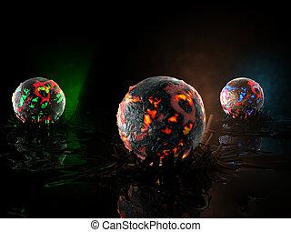globes in fire