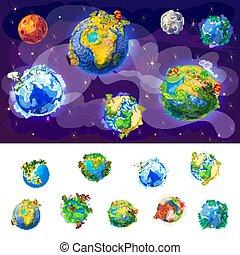 globes, la terre, concept, dessin animé