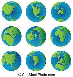 globes, la terre, ensemble