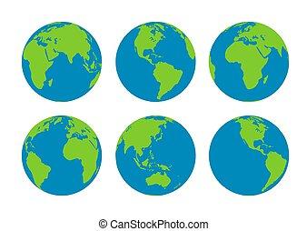 globes, la terre, six