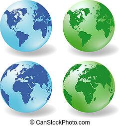 globes, la terre, vecteur, lustré