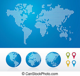 globes, mondiale, pointillé, cartes
