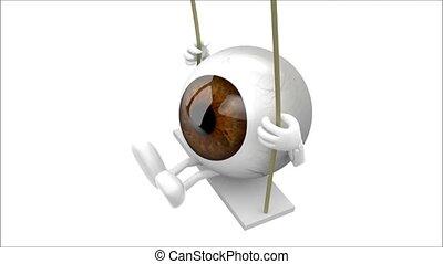 globes oculaires, dessin animé, balançoire
