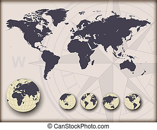 globes, planisphère, la terre