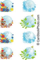 globes, quatre, ensemble, saisons