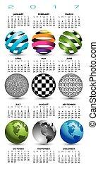 globes, résumé, neuf, 2017, calendrier