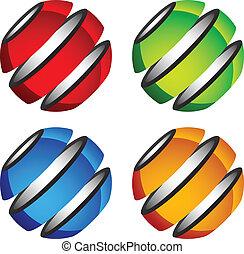 globes, résumé, vecteur, brillant, coloré