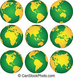 globes, vecteur