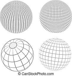 globes, wireframe