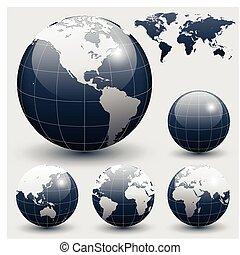 globi, terra, mappa mondo