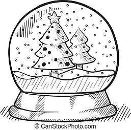 globo, árvore, natal, esboço, neve