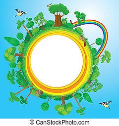 globo, árvores, verde, Pássaros