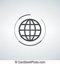 globo, ícone, globo, símbolo, apartamento, com, círculo, ao redor