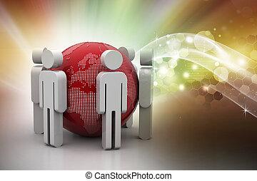 globo, 3d, intorno, persone