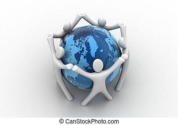 globo, 3d, intorno, render, persone