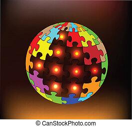 globo, abstração, coloridos, quebra-cabeças