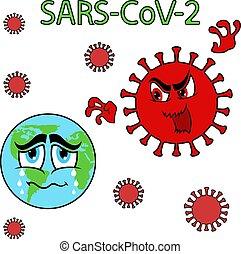 globo, abstratos, ataque, coronavirus