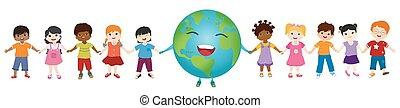 globo, agrupe, multiethnic, diverso, segurando, planeta, ecológico, comunidade, energia limpa, crianças, isolado, cultura, mãos, eco, environment., sustentável, future.