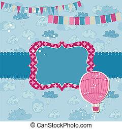globo, -, aire, invitación, fiesta, álbum de recortes,...