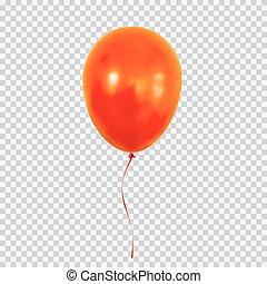globo, aislado, fondo., helio, transparente, rojo