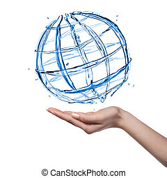 globo, aislado, mano, agua, humano, blanco
