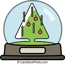 globo, albero., neve, christams