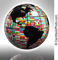 globo, america, bandiere, caratterizzare
