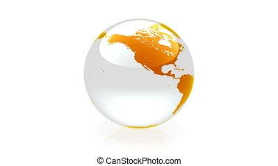 globo, animação, laranja