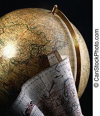 globo antiguo, y, mapa, de, el mundo