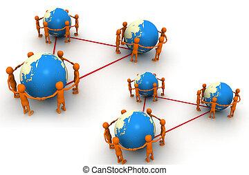 globo, ao redor, pessoas
