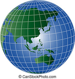 globo, asia, e, australia