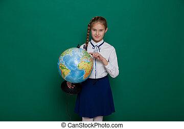 globo, asse, classe, geografia, ragazza, scuola