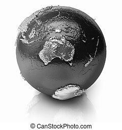 globo, australia, -, argento