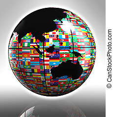 globo, australia, bandiere, asia