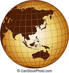 globo, australia, e, asia