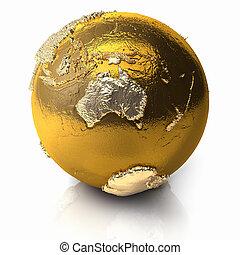 globo, australia, -, oro
