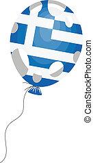 globo azul, ilustración, bandera griega, vector