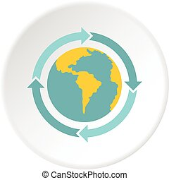 globo azul, setas, círculo, ícone