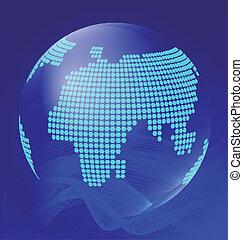 globo azul, transparente, ondas