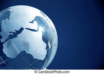 globo azul, vidrio