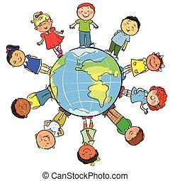 globo, bambini, intorno
