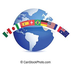 globo, bandeiras, ilustração