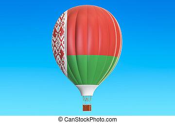 globo, bandera, aire, interpretación, caliente, belorussian, 3d
