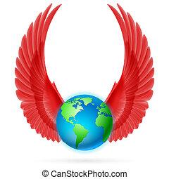 globo, bianco rosso, ali